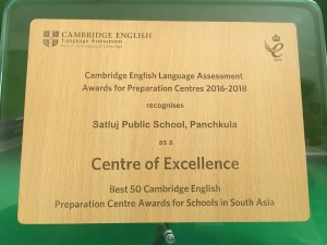 Satluj Public School receives the Best 50 Preparation centre award by Cambridge English