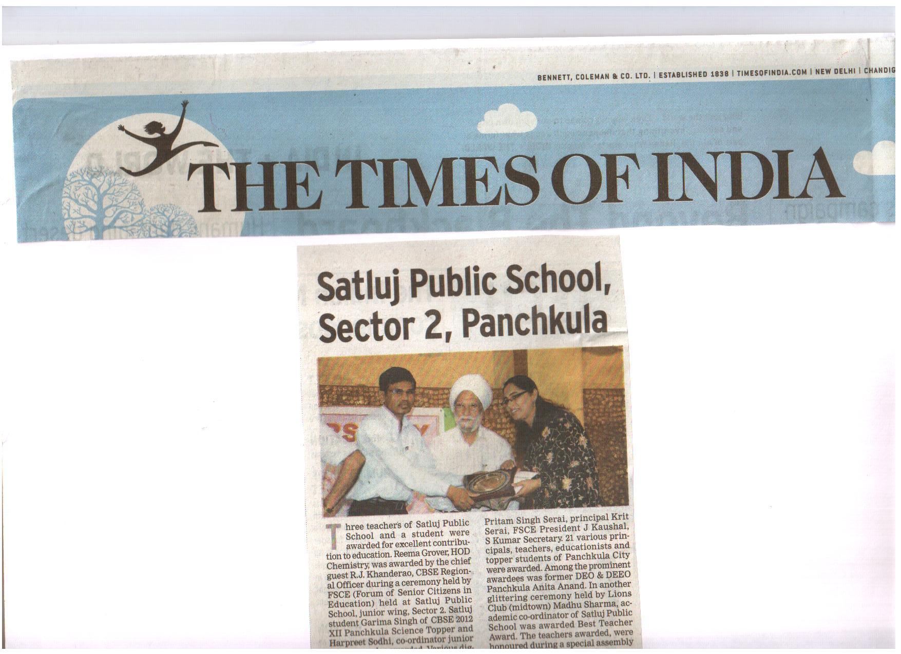 Satluj Teachers Awareded